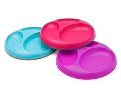 Saucer Stayput Plate 3Pk - Pink Multi