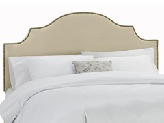 Velvet Twin Notched Nail Button Headboard- Buckwheat