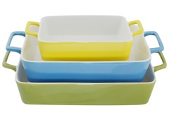3 Nested Rectangle Bakers - Green/Blue/Yellow
