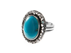 Sterling Silver and Oval Turquoise Ring