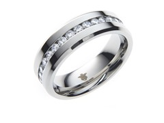 Steel & All Around Channel Set CZ Ring