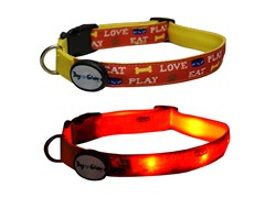 Dog-e-Glow Eat, Play, Love LED Collar - Medium