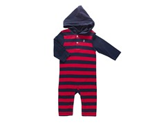 Navy Yarn Hooded Coverall (0-9M)