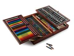 174-Pc Art Set w/ Folding Tray Wood Case