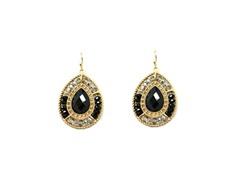 Gold-Plated & Glass Bead Dangling Earrings - Black
