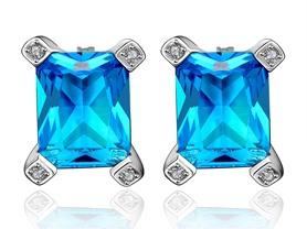 Geometric Cut Sapphire Swarovski Earring