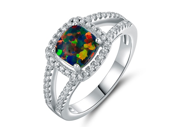 Cushion Cut Opal Halo Ring Fashion