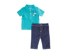 Green Denim 2-Pc Polo Sets (3-24M)