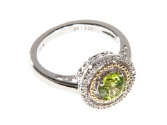 Silver & 14k Gold Peridot Ring