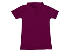 Girls Interlock Polo - Burgundy (Sizes XS-L)