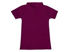 Girls Interlock Polo - Burgundy (Sizes XS-L)
