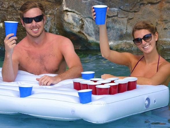 Party Barge Floating Beer Pong Table With Cooler