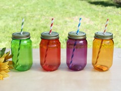 16 OZ Jar Lid & Straw- Set of 4