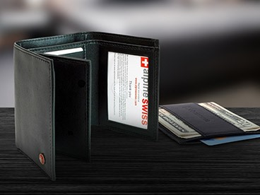 Alpine Swiss Wallets with RFID Blocking Technology