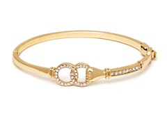 Gold/Clear Swarovski Elements Holding Rings Bangle