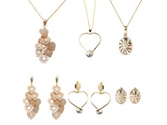 Set of 3 Three Tone Drop Earrings & Pendant Necklace Set