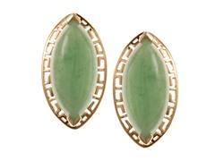 10kt, Marquis Shape Jade Earring