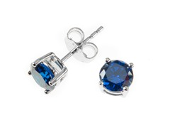 Sterling Silver, 6 mm Blue CZ Earrings