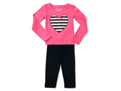 Fuchsia Stripe Heart Legging Set