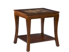 Cambria Brown Cherry Slate End Table