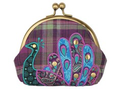 Boho Peacock Kiss Lock Pouch, Purple
