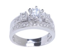 18kt WG Plated SS Sim Diamond Engagement Ring Set
