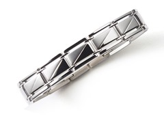 BlackJack Brushed and Polished Stainless Steel Bracelet