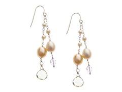 SS Pearl & Amethyst Drop Earrings