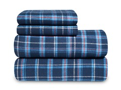 Blue Navy Plaid Queen Flannel Sheet Set