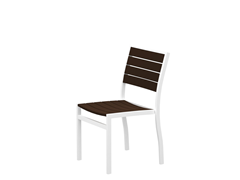 Euro Dining Chair, White/Mahogany