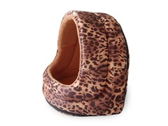 Furry Canopy Cave Pet Bed - Leopard