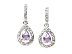 SS Amethyst Gemstone w/Diamond Earrings