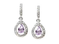 SS Amethyst Gemstone w/Diamond Earrings