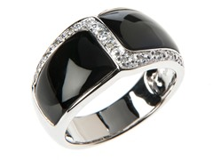 SS Black Onyx, White Topaz Ring