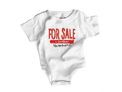 """For Sale by Bro"" in White - (0-12 mos)"