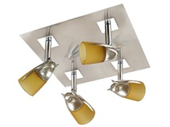 4-Light Satin Ceiling Mount, Amber