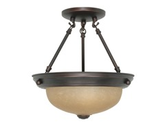 "2-Light 11"" Semi-Flush, Mahogany Bronze"
