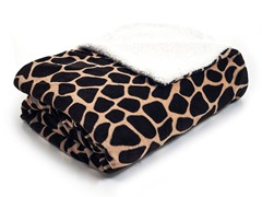 Fleece Blanket w/ Sherpa Backing-Giraffe