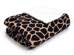 Fleece Blanket w/ Sherpa Backing-Giraffe