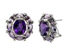 SS Amethyst Earrings w/ Omega Backs