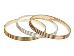 18kt Gold Plated Diamond Cut 3-Pack Bangles