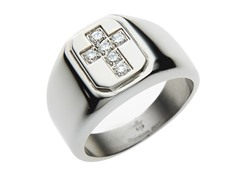 Stainless Steel CZ Cross Ring