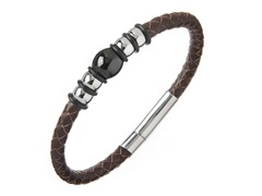 Brown Braided Leather Push/Pull Bracelet
