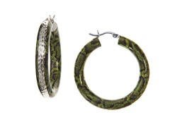 SS Green Snake Print Hoop Earrings