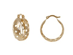 Gold Disc Cut-Out Hoop Earrings