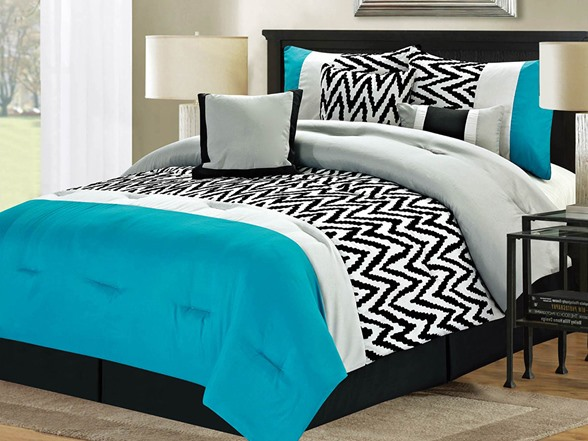 7 Pc Bentley Comforter Set Blue Queen