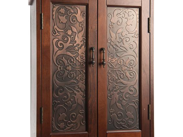 Jewelry Armoire With Metal Inlay Doors