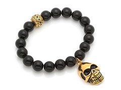 Black Onyx Stretch Bracelet w/ Skull