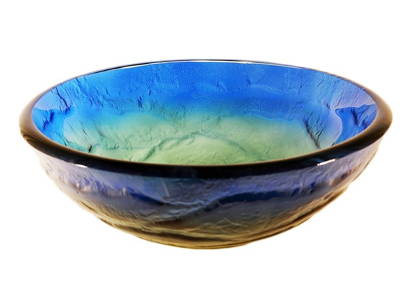Glass Vessel Sink Blue Yellow Green
