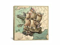Antique Mediterrean Map 18x18
